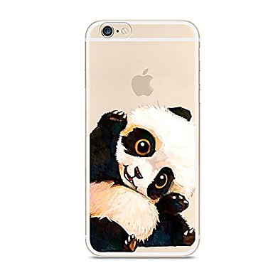 Capinha Para Apple iPhone 7 / iPhone 7 Plus Ultra-Fina / Translúcido / Estampada Capa traseira Animal / Panda Macia TPU para iPhone 7 Plus / iPhone 7 / iPhone 6s Plus