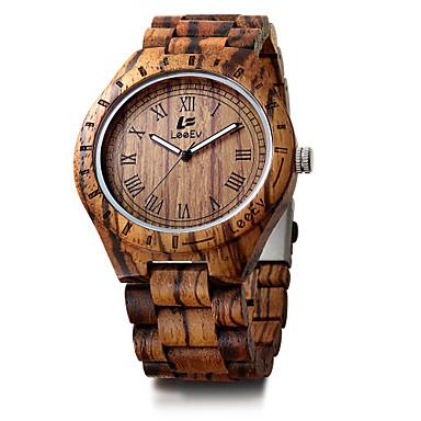 お買い得  メンズ腕時計-男性用 ブレスレットウォッチ 日本産 ウッド ブラック / レッド / ブラウン カレンダー クロノグラフ付き クリエイティブ ハンズ ぜいたく ヴィンテージ カジュアル バングル ミニマリスト - Brown レッド 迷彩ブラウン / 大きめ文字盤