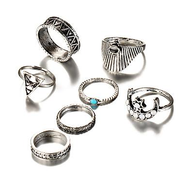 Pentru femei Boem Turcoaz Turcoaz / Aliaj MOON Seturi de inele - Τρίγωνο Γεωμετρικά / Vintage / Boem Argintiu Inel Pentru Nuntă /