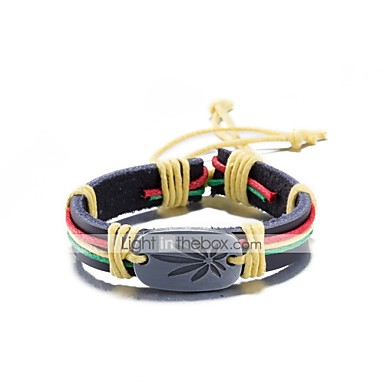Men's Women's Hollow Wrap Bracelet Leather Bracelet Wide Bangle - Leather, Silver Plated Bracelet Jewelry Black / Rainbow / Brown For Gift Casual