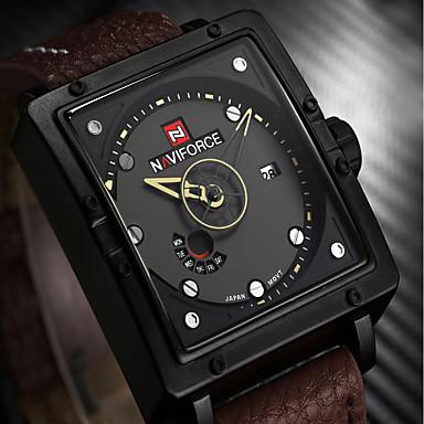 Bărbați Ceas de Mână Japoneză Calendar / Rezistent la Apă / Creative Piele Autentică Bandă Charm / Lux / Vintage Negru / Maro