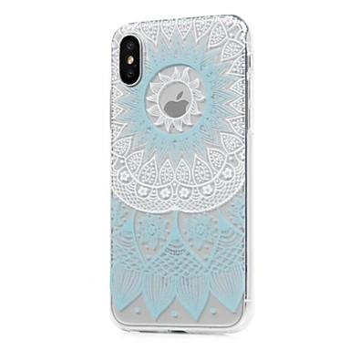Pentru iPhone X iPhone 8 iPhone 8 Plus Carcase Huse Ultra subțire Transparent Model Carcasă Spate Maska Mandala dantelă de imprimare Moale