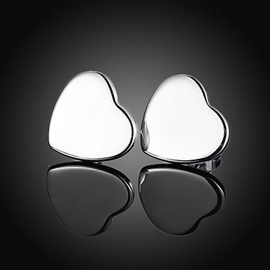 Pentru femei Inimă Argilă Cercei Stud - De Bază Inimă Argintiu Inimă cercei Pentru Petrecere Zilnic
