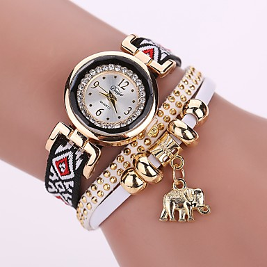 Women's Fashion Watch Bracelet Watch Simulated Diamond Watch Quartz Quilted PU Leather White / Blue / Red Imitation Diamond Analog Ladies Charm Casual Bohemian Elegant - Brown Blue Dark Red