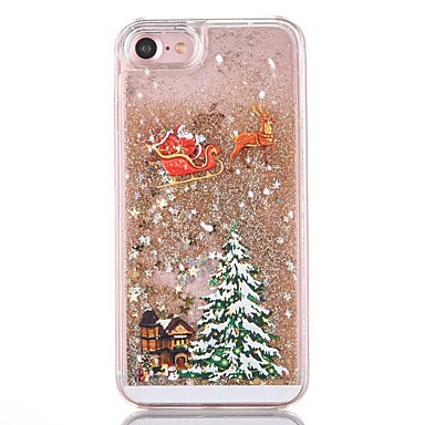 voordelige iPhone 5 hoesjes-hoesje Voor iPhone 7 / iPhone 7 Plus / iPhone 6s Plus iPhone 8 Plus / iPhone 8 / iPhone 7 Plus Stromende vloeistof Achterkant Glitterglans / Kerstmis Hard PC