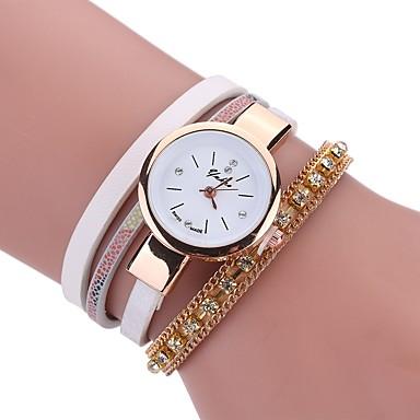 Pentru femei Ceas Brățară / Simulat Diamant Ceas Chineză imitație de diamant PU Bandă Charm / Casual / Boem Negru / Alb / Albastru