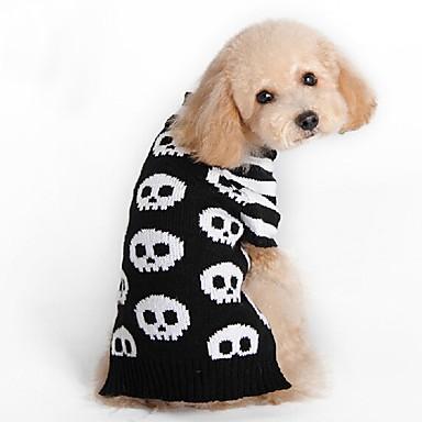 Pisici Câine Haine Pulovere Crăciun Îmbrăcăminte Câini Petrecere Cosplay Casul/Zilnic Keep Warm Nuntă Halloween Anul Nou Cranii Negru