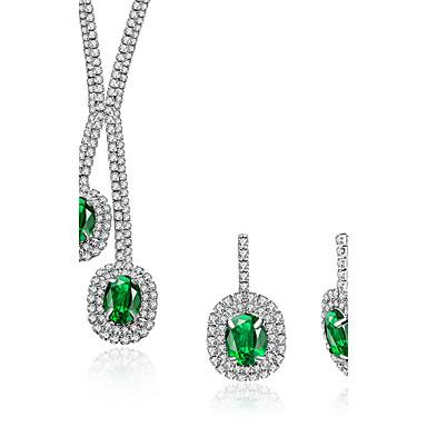 Pentru femei Cercei Picătură Coliere cu Pandativ Cristal Zirconiu Cubic Sintetic Emerald Cristal Zirconiu Circle Shape Geometric Shape