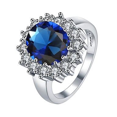 Pentru femei Band Ring Diamant sintetic Zirconiu Cubic Alb Albastru Zirconiu Zirconiu Cubic Aliaj Geometric Shape neregulat Floare