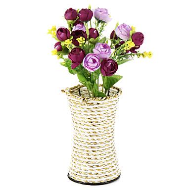 1branch zijde / plastic rozen kunstbloemen met vaas woondecoratie