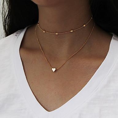 للمرأة قلادات ضيقة قلائد الحلي قلادات السلسلة مجوهرات نحاس الحديد قلب مخصص euramerican في ملابس-طرق متعددة موضة أسلوب بسيط لباس يومي