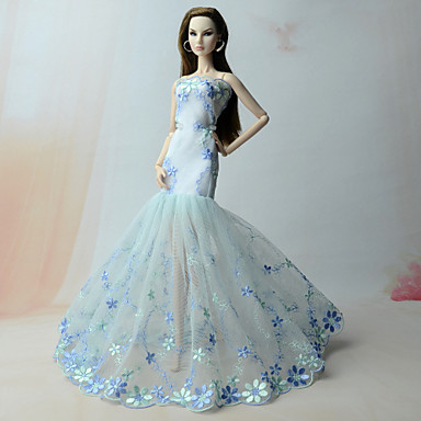 fe0e16bd853f Φορέματα Φόρεμα Για Barbiedoll Μπλε Δαντέλα   Organza Φόρεμα Για Κορίτσια  κούκλα παιχνιδιών