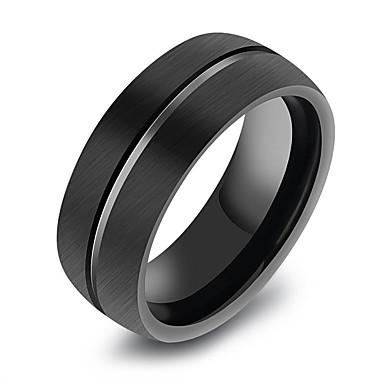 povoljno Prstenje-Muškarci Geometrijski Band Ring Korejski Moda Početno Nakit Modno prstenje Jewelry Crn Za Dnevno Formalan 8 / 9 / 10 / 11 / 12
