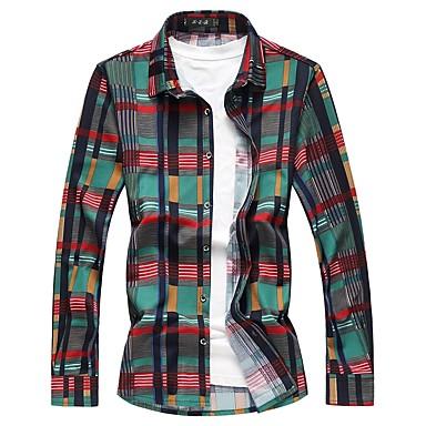 economico Abbigliamento uomo-Camicia - Taglie forti Per uomo A quadri Cotone Verde XXXXL / Manica lunga / Autunno / Inverno / Taglia piccola