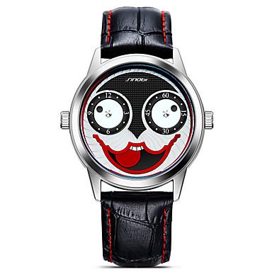SINOBI 남성용 석영 손목 시계 스포츠 시계 일본어 큰 다이얼 충격 방지 가죽 밴드 캐쥬얼 카툰 패션 멋진 블랙