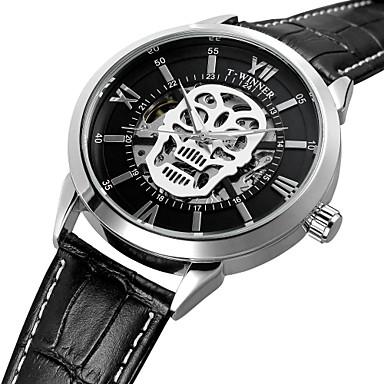 WINNER Pánské Náramkové hodinky Automatické natahování Pravá kůže Materiál  řemínku Černá 30 m Voděodolné S dutým 0660d26238