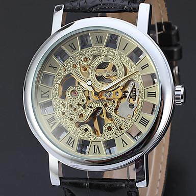 levne Pánské-WINNER Pánské Hodinky s lebkou Náramkové hodinky mechanické hodinky Automatické natahování Kůže Černá 30 m S dutým gravírováním Analogové Luxus Klasické Vintage - Zlatá Stříbrná Zlatá / stříbrná