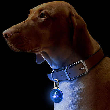 Cat Dog Collar Tag LED Lights Safety Solid Plastic Yellow Red Green Blue Pink