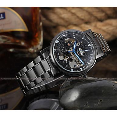 levne Pánské-WINNER Pánské Náramkové hodinky mechanické hodinky Automatické natahování Nerez Černá 30 m S dutým gravírováním Analogové Luxus Klasické Na běžné nošení - Černá modrá / černá Stříbrná / Červená