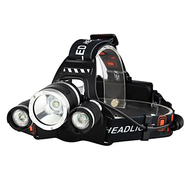 Headlamps Bike Light Headlight LED Cree® XM-L T6 3 Emitters 3000 lm 4 Mode with Batteries and Chargers Waterproof Impact Resistant Rechargeable Camping / Hiking / Caving Everyday Use Police / Military