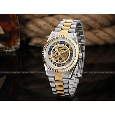 levne Pánské-WINNER Pánské Hodinky s lebkou Náramkové hodinky mechanické hodinky Automatické natahování Nerez Stříbro / Zlatá 30 m S dutým gravírováním Cool Analogové Luxus Klasické Vintage Na běžné nošení -