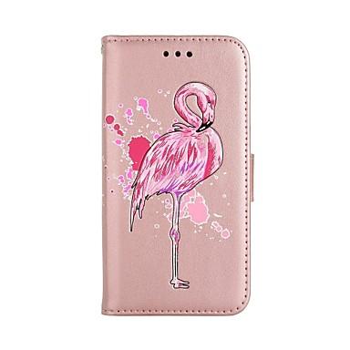 Недорогие Чехлы и кейсы для Galaxy S6-Кейс для Назначение SSamsung Galaxy S8 Plus / S8 / S7 edge Кошелек / Бумажник для карт / со стендом Чехол Фламинго / Сияние и блеск Твердый Кожа PU