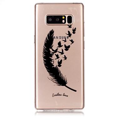 voordelige Galaxy Note-serie hoesjes / covers-hoesje Voor Samsung Galaxy Note 8 Ultradun / Transparant / Reliëfopdruk Achterkant Veren Zacht TPU