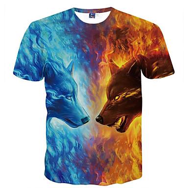 economico Abbigliamento uomo-T-shirt Per uomo Serata Essenziale Con stampe, Animali Rotonda Lupo Blu XXXL / Manica corta / Estate