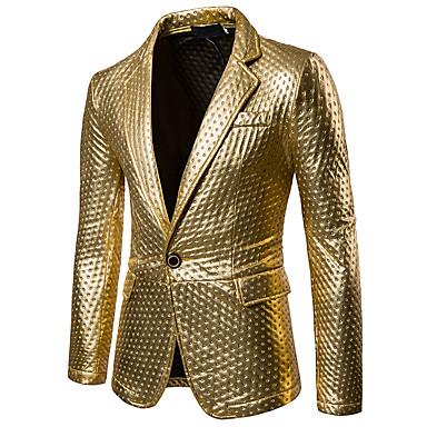 ieftine Îmbrăcăminte Bărbați de Exterior-Bărbați Petrecere / Casul / Zilnic Sofisticat Primăvară / Toamnă Regular Blazer, Mată Guler Cămașă Manșon Lung PU Eliminat Auriu / Negru / Argintiu / Zvelt