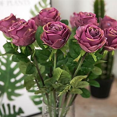 Künstliche Blumen 1 Ast Retro Europäischer Stil Rosen Tisch-Blumen