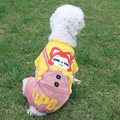 Dog Jumpsuit Dog Clothes Cartoon Yellow Cotton Costume For Pets Men's Women's Casual / Daily