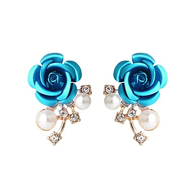 Γυναικεία Κουμπωτά Σκουλαρίκια - Κρύσταλλο Απομίμηση Μαργαριταριού Λουλούδι κυρίες Βίντατζ Μοντέρνα Κοσμήματα Μπλε Για Πάρτι Βραδινό Πάρτυ