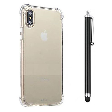 Capinha Para Apple iPhone X iPhone 8 iPhone 8 Plus Antichoque Transparente Capa traseira Côr Sólida Macia TPU para iPhone X iPhone 8 Plus