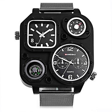 SHI WEI BAO Men's Quartz Military Watch Fashion Watch Sport Watch Chinese Large Dial Punk Dual Time Zones Compass Stainless Steel Band