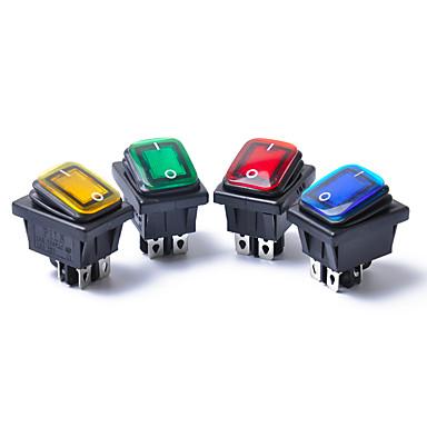 billige Autodele-4 stk 12v 15a 4pin vandtæt rocker switch med lampe dpst dpst bilbåd