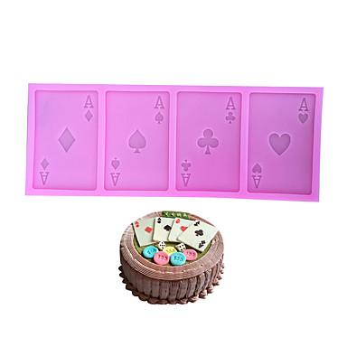 ieftine Ustensile & Gadget-uri de Copt-un tort de poker silicon de mucegai juca cărți cookie ciocolată fondant bucătărie instrument de copt