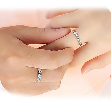 Homens Mulheres Anéis de Casal Anéis Grossos 2pçs Amor Casamento Prata de Lei Zircão Formato Circular Jóias Casamento Festa Presente