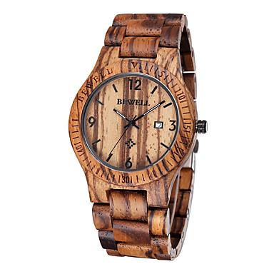 お買い得  メンズ腕時計-男性用 リストウォッチ ユニークなクリエイティブウォッチ 腕時計 ウッド 日本産 クォーツ ウッド ブラウン 30 m 耐水 カレンダー ハンズ ぜいたく クラシック - Brown 2年 電池寿命