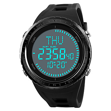 זול שעוני גברים-SKMEI בגדי ריקוד גברים שעוני ספורט שעונים צבאיים שעון דיגיטלי Japanese דיגיטלי דמוי עור מרופד שחור / ירוק / אפור 50 m עמיד במים Alarm כרונוגרף דיגיטלי יום יומי - שחור אפור ירוק שנה אחת חיי סוללה