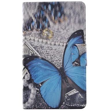 voordelige Samsung Tab-serie hoesjes / covers-hoesje Voor Samsung Galaxy Tab 4 8.0 Kaarthouder / met standaard / Flip Volledig hoesje Vlinder Hard PU-nahka