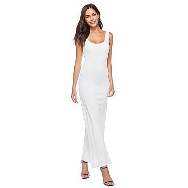 cheap White and Black Dresses-Women's Plus Size Daily Basic Maxi Slim Sheath Dress - Solid Colored White U Neck Summer Navy Blue Yellow Wine XL XXL XXXL