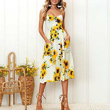 cheap Midi Dresses-Women's loralF Daily A Line Sundress - Sunflowers Tropical Leaf White, Print Strap Summer Pink Beige Navy Blue L XL XXL