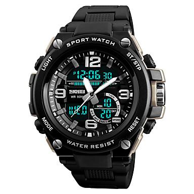 Χαμηλού Κόστους Ανδρικά ρολόγια-SKMEI Ανδρικά Αθλητικό Ρολόι Μοδάτο Ρολόι Στρατιωτικό Ρολόι Ιαπωνικά Ψηφιακή Συνθετικό δέρμα με επένδυση Μαύρο 50 m Ανθεκτικό στο Νερό Συναγερμός Ημερολόγιο Αναλογικό-Ψηφιακό Καθημερινό Μοντέρνα -