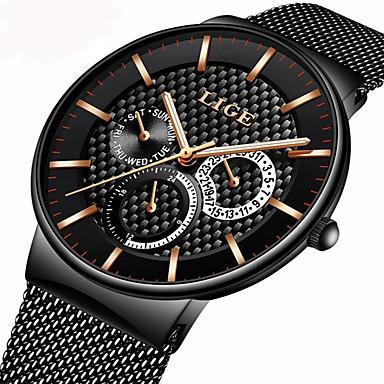 Недорогие Часы на металлическом ремешке-Муж. Часы-браслет Японский Нержавеющая сталь Черный / Серебристый металл / Золотистый 30 m Защита от влаги Календарь Секундомер Аналоговый Роскошь На каждый день -  / Два года / Хронометр / Два года