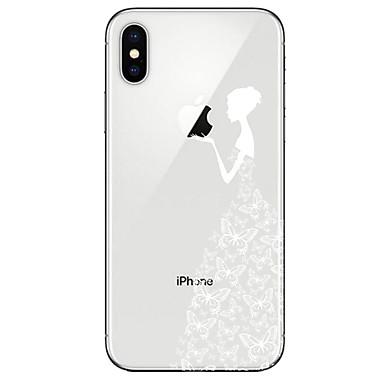 voordelige iPhone X hoesjes-hoesje Voor Apple iPhone X / iPhone 8 Plus / iPhone 8 Transparant / Patroon Achterkant Vlinder / Sexy dame Zacht TPU