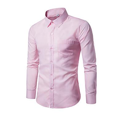 baratos Roupa de Homem Moderna-Homens Camisa Social - Trabalho Negócio / Básico Sólido Delgado Khaki XL / Manga Longa