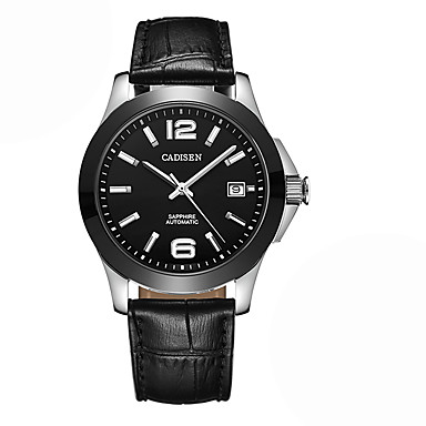 levne Pánské-CADISEN Pánské Hodinky na běžné nošení Módní hodinky japonština Automatické natahování Kůže Černá 50 m Voděodolné Kalendář Hodinky na běžné nošení Analogové Módní Cool - Černá / Bílá Dva roky / Nerez