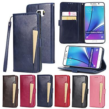 voordelige Galaxy Note 5 Hoesjes / covers-hoesje Voor Samsung Galaxy Note 5 Portemonnee / Kaarthouder / met standaard Volledig hoesje Effen Hard PU-nahka