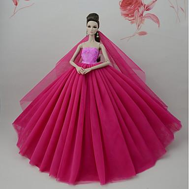 cea4e313a6e6 Vestiti Vestito Per Barbiedoll Rosso scuro Tulle   Pizzo   Misto Seta    Cotone Abito Per