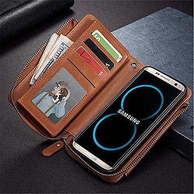 Недорогие Чехлы и кейсы для Galaxy S6 Edge-Кейс для Назначение SSamsung Galaxy S8 Plus / S8 / S7 edge Кошелек / Бумажник для карт / Защита от удара Чехол Сплошной цвет Твердый Кожа PU